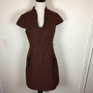 Brick red wool Tweed Dress with Faux leather trim